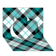 Smart Plaid Teal Heart 3D Greeting Card (7x5)
