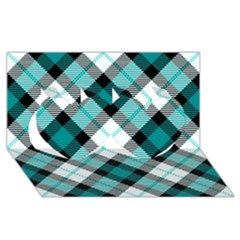Smart Plaid Teal Twin Hearts 3d Greeting Card (8x4)