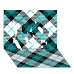 Smart Plaid Teal LOVE 3D Greeting Card (7x5)