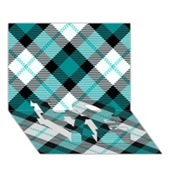 Smart Plaid Teal Love Bottom 3d Greeting Card (7x5)