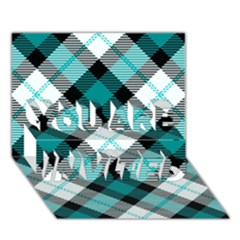 Smart Plaid Teal YOU ARE INVITED 3D Greeting Card (7x5)