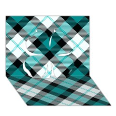 Smart Plaid Teal Clover 3D Greeting Card (7x5)