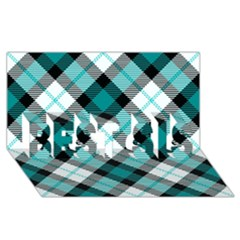 Smart Plaid Teal BEST SIS 3D Greeting Card (8x4)