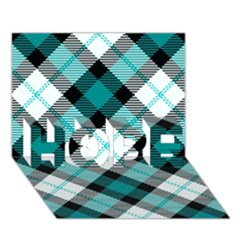 Smart Plaid Teal HOPE 3D Greeting Card (7x5)