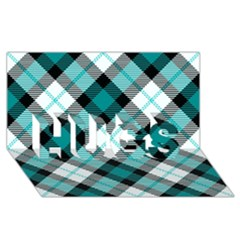 Smart Plaid Teal Hugs 3d Greeting Card (8x4)