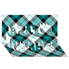 Smart Plaid Teal Best Wish 3d Greeting Card (8x4)