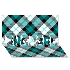 Smart Plaid Teal Engaged 3d Greeting Card (8x4)