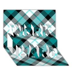 Smart Plaid Teal WORK HARD 3D Greeting Card (7x5)