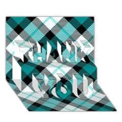 Smart Plaid Teal Thank You 3d Greeting Card (7x5)