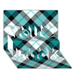 Smart Plaid Teal You Rock 3D Greeting Card (7x5)