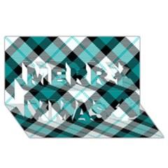Smart Plaid Teal Merry Xmas 3d Greeting Card (8x4)