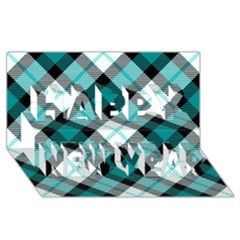 Smart Plaid Teal Happy New Year 3D Greeting Card (8x4)