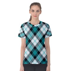 Smart Plaid Teal Women s Cotton Tees