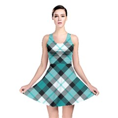 Smart Plaid Teal Reversible Skater Dresses