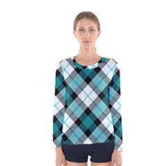 Smart Plaid Teal Women s Long Sleeve T Shirts