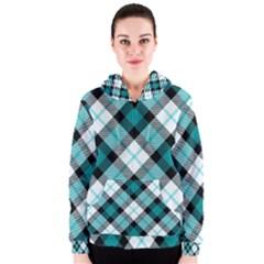 Smart Plaid Teal Women s Zipper Hoodies