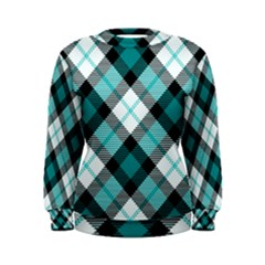 Smart Plaid Teal Women s Sweatshirts