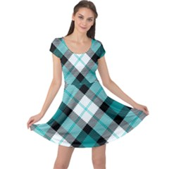 Smart Plaid Teal Cap Sleeve Dresses