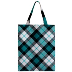 Smart Plaid Teal Zipper Classic Tote Bags