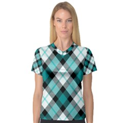 Smart Plaid Teal Women s V-Neck Sport Mesh Tee