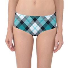 Smart Plaid Teal Mid-Waist Bikini Bottoms