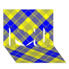 Smart Plaid Blue Yellow I Love You 3D Greeting Card (7x5)