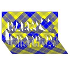 Smart Plaid Blue Yellow Happy Birthday 3d Greeting Card (8x4)
