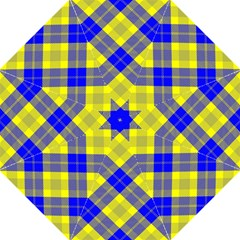 Smart Plaid Blue Yellow Golf Umbrellas
