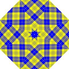 Smart Plaid Blue Yellow Hook Handle Umbrellas (medium)