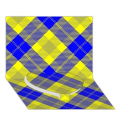Smart Plaid Blue Yellow Heart Bottom 3d Greeting Card (7x5)