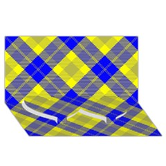 Smart Plaid Blue Yellow Twin Heart Bottom 3D Greeting Card (8x4)