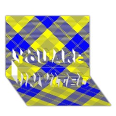 Smart Plaid Blue Yellow YOU ARE INVITED 3D Greeting Card (7x5)