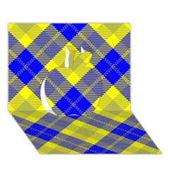 Smart Plaid Blue Yellow Apple 3D Greeting Card (7x5)