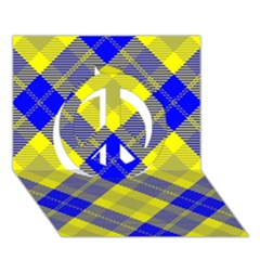 Smart Plaid Blue Yellow Peace Sign 3d Greeting Card (7x5)