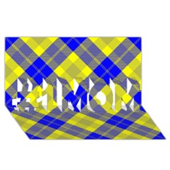 Smart Plaid Blue Yellow #1 MOM 3D Greeting Cards (8x4)