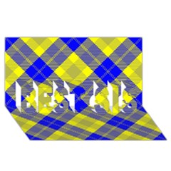 Smart Plaid Blue Yellow BEST SIS 3D Greeting Card (8x4)
