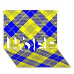 Smart Plaid Blue Yellow HOPE 3D Greeting Card (7x5)