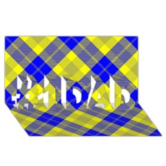 Smart Plaid Blue Yellow #1 DAD 3D Greeting Card (8x4)