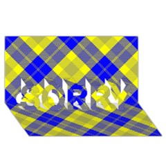 Smart Plaid Blue Yellow Sorry 3d Greeting Card (8x4)