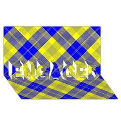Smart Plaid Blue Yellow ENGAGED 3D Greeting Card (8x4)