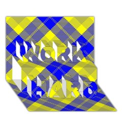 Smart Plaid Blue Yellow Work Hard 3d Greeting Card (7x5)