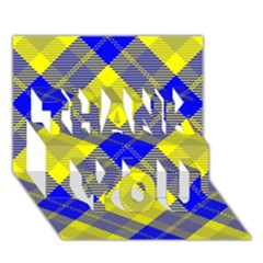 Smart Plaid Blue Yellow THANK YOU 3D Greeting Card (7x5)