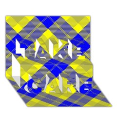 Smart Plaid Blue Yellow TAKE CARE 3D Greeting Card (7x5)