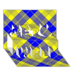 Smart Plaid Blue Yellow Get Well 3D Greeting Card (7x5)