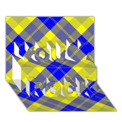 Smart Plaid Blue Yellow You Rock 3d Greeting Card (7x5)