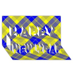 Smart Plaid Blue Yellow Happy New Year 3d Greeting Card (8x4)