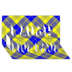 Smart Plaid Blue Yellow Laugh Live Love 3D Greeting Card (8x4)