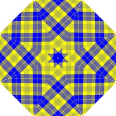 Smart Plaid Blue Yellow Hook Handle Umbrellas (Small)