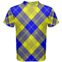 Smart Plaid Blue Yellow Men s Cotton Tees