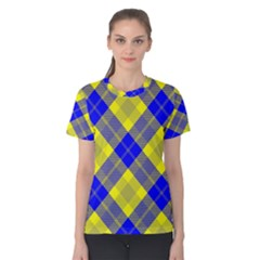 Smart Plaid Blue Yellow Women s Cotton Tees